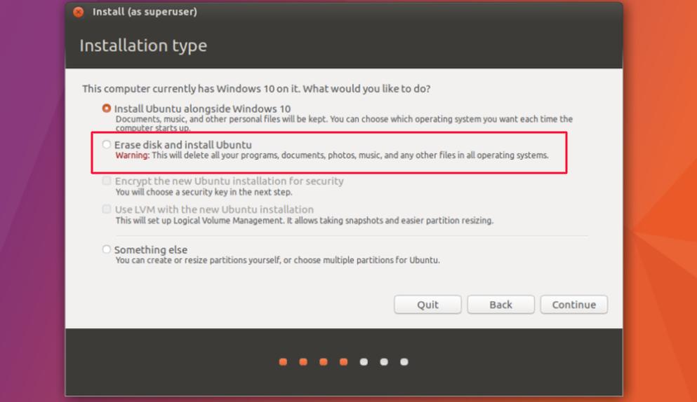 ubuntu installation type