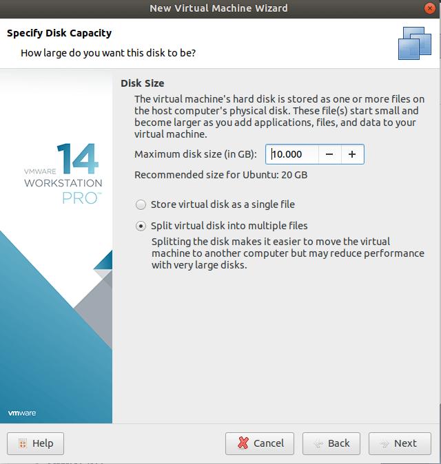 vmware disk size