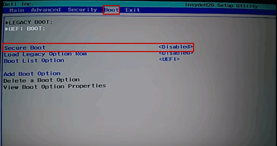 disabling secure root option